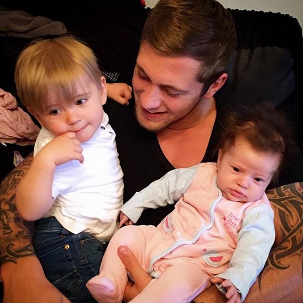 TOWIE's Dan Osborne with Teddy and Ella, 13 April 2015