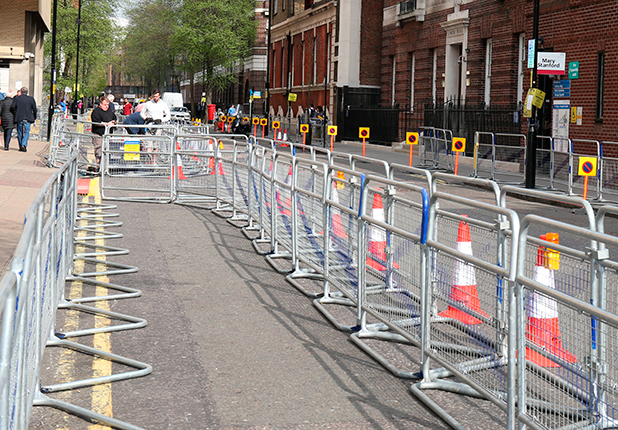 General view of press pens set up today outside the Lindo Wing at St Mary's Hospital, where Catherine, Duchess of Cambridge is expected to give birth within the next couple of weeks on April 16, 2015 in London, England.