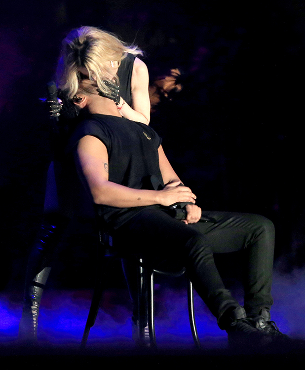 Madonna (L) and Drake perform onstage during day 3 of the 2015 Coachella Valley Music & Arts Festival (Weekend 1) at the Empire Polo Club on April 12, 2015 in Indio, California.