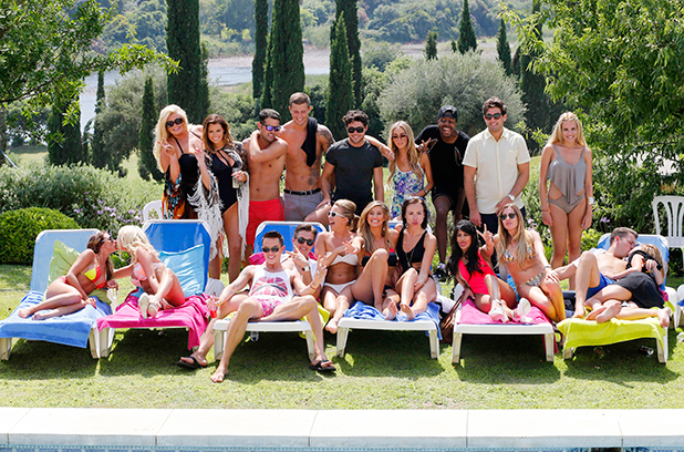 The Only Way Is Essex' cast, pool party, Marbella, Spain - 16 Jun 2014 Gemma Collins, Jessica Wright, Ricky Rayment, Dan Osborne, Tom Pearce, Lauren Pope, Vas J Morgan, James Argent, Georgia Kousoulou (back row), Grace Andrews, Daniella Armstrong, Bobby Norris, Lewis Bloor, Lydia Bright, Ferne McCann, Imogen Leaver, Jasmin Walia, Robyn Althasen, James Bennewith and Francesca Parman (front row) 16 Jun 2014