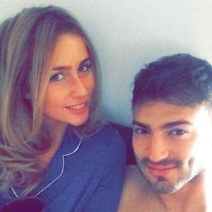 Jake Quickenden snuggles up to girlfriend Danielle Fogarty in bed - 19 April 2015.