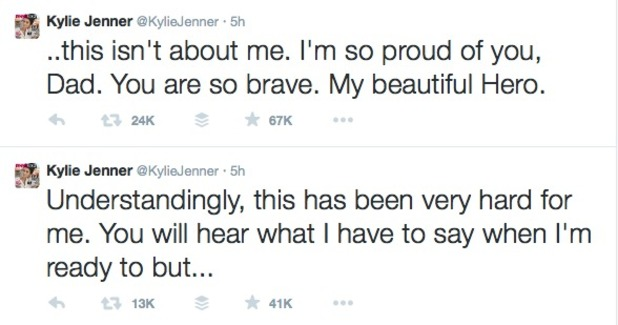 Kylie Jenner reacts to dad Bruce confirming his transition into a female, 24 April 2015