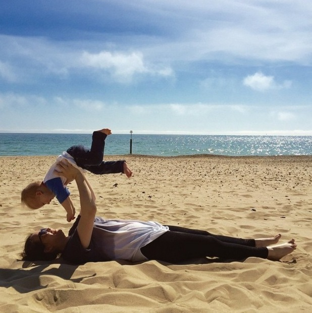 Tom Fletcher shares a picture with son Buzz at the beach on Instagram 23rd April 2015