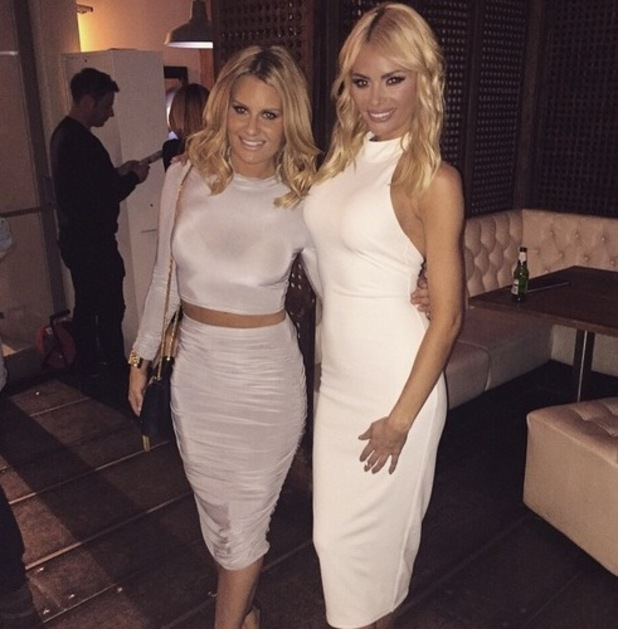 TOWIE's Danielle Armstrong and Chloe Sims pose at the wrap party in Essex - 22 April 2015.