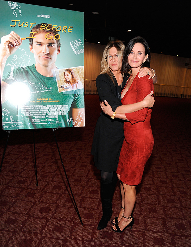 Jennifer Aniston and director Courteney Cox attend the Los Angeles Special Screening of 'Just Before I Go' at ArcLight Hollywood on April 20, 2015 in Hollywood, California.