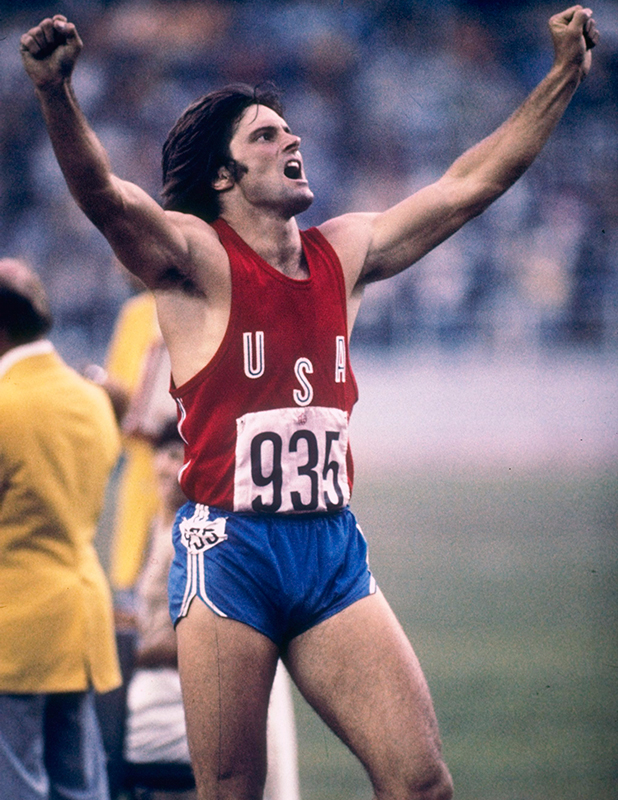 Bruce Jenner of the USA celebrates during his record setting performance in the decathlon in the 1976 Summer Olympics in Montreal, Canada. Mandatory Credit: Tony Duffy /Allsport