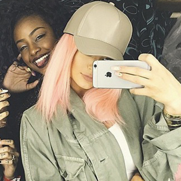 Kylie Jenner tries out pink hair at Coachella, April 2015
