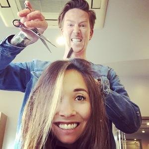 Myleene Klass gets hair cut, Instagram 30 April