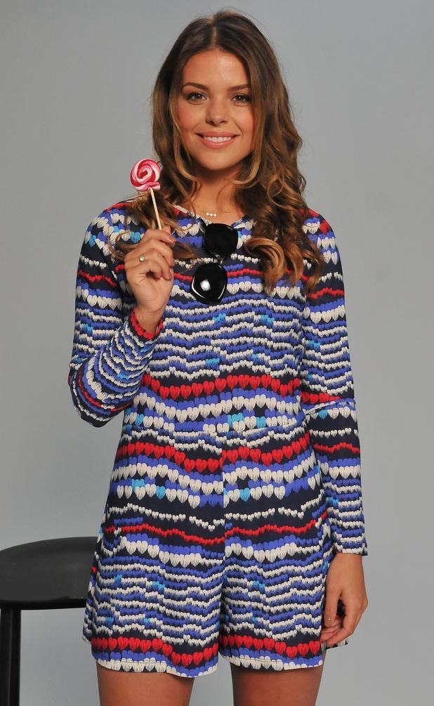 TOWIE star Chloe Lewis models Fearne Cotton's swing playsuit - 29 April 2015.