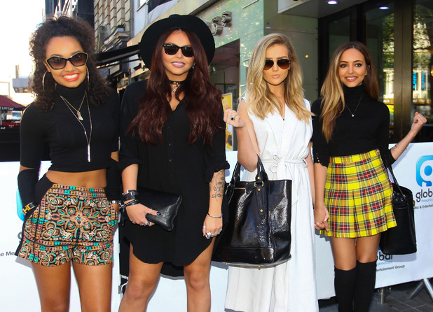Little Mix leave Global House after announcing that they will play at Capital's Summertime Ball - 30 April 2015.