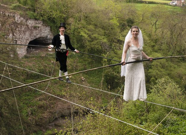 Dress rehearsal for world's first tightrope wedding