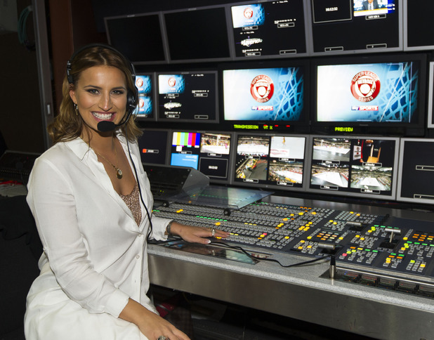 Ferne McCann behind the scenes at the NSL final, Copperbox 25 April