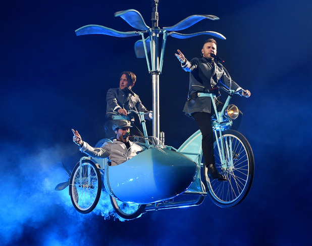 Take That's Gary Barlow, Mark Owen and Howard Donald on the first night of UK arena tour in Glasgow - 27 April.