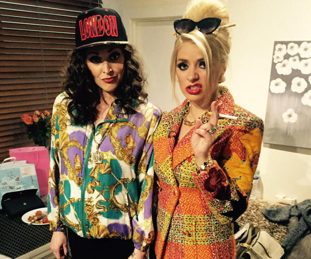Holly Willoughby and Fearne Cotton dress up as Absolutely Fabulous' Patsy and Edina - 29 April 2015.