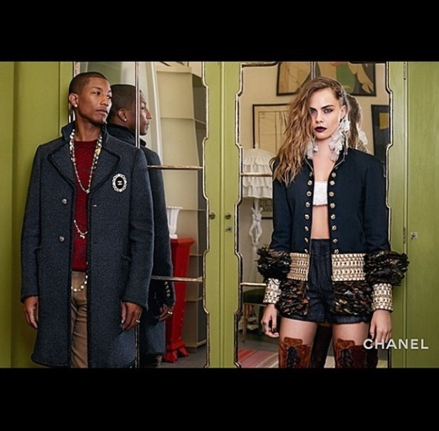 Cara Delevingne and Pharrell star in chanel campaign april 29