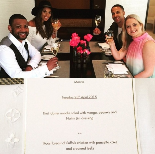 JB Gill treats former JLS bandmate Marvin Humes to fancy post-birthday meal - 28 April 2015.