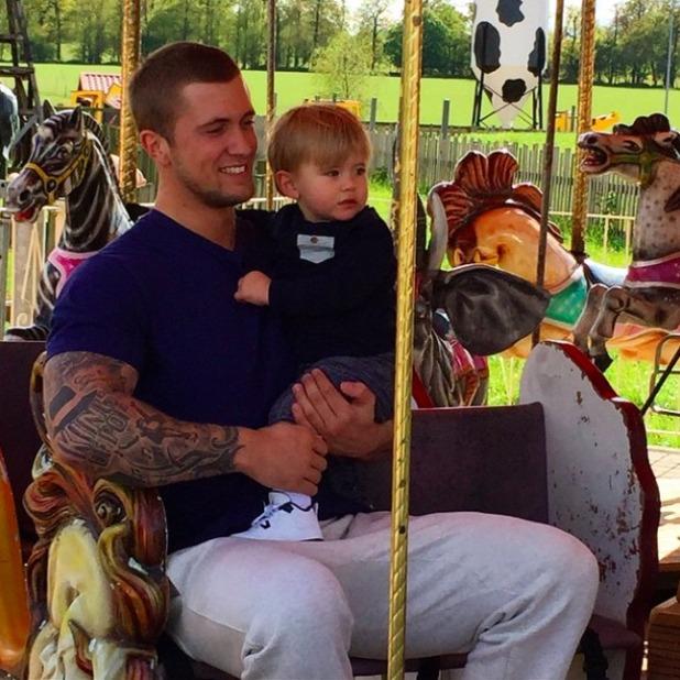 Dan Osborne and his son Teddy enjoy day at Thorpe Park, 2 May 2015