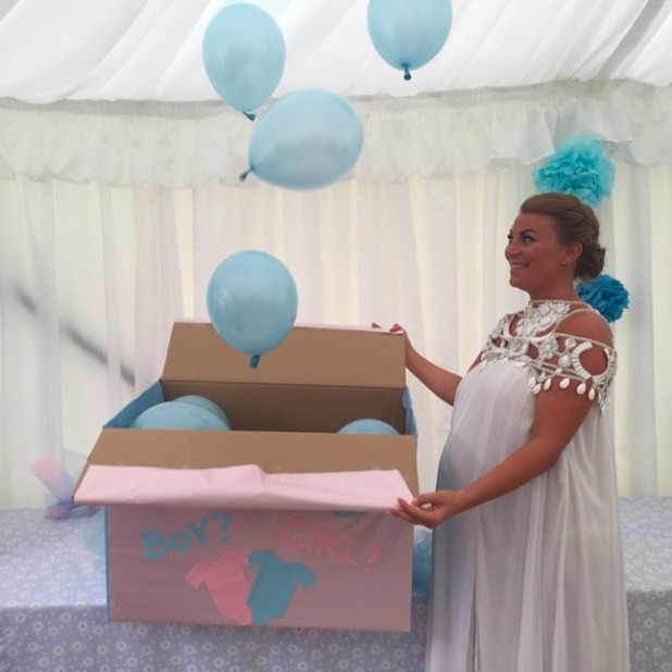 Pregnant Billi Mucklow announces sex of unborn baby at baby shower, 3 May 2015