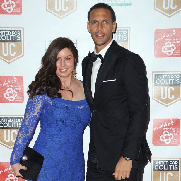 Rio Ferdinand and wife Rebecca attend an exclusive night of fundraising for Crohn's and Colitis, March 2014.