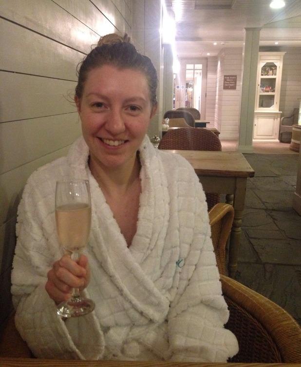Emma having champagne at Ragdale Hall