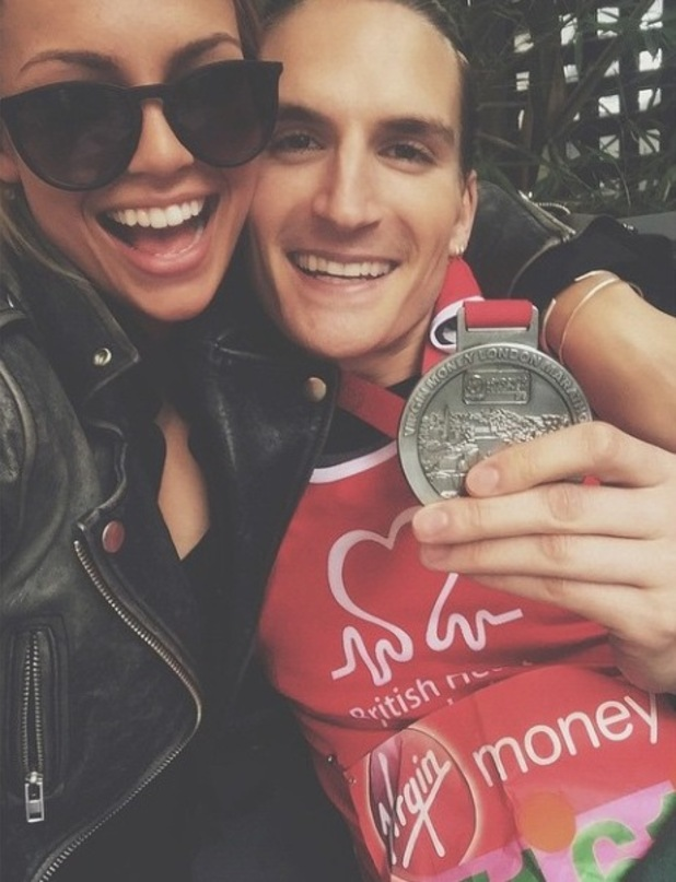 MIC's Oliver Proudlock and Emma Louise Connolly after his marathon run - 26 April 2015.