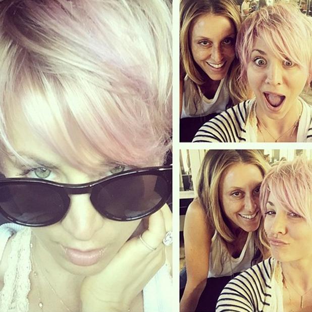 Kaley Cuoco dyes hair pink, 28 April 2015
