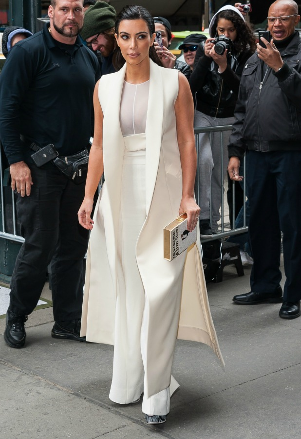 Kim Kardashian is seen on April 24, 2015 in New York City. (Photo by ESBP/Star Max/GC Images)