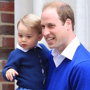 Prince George arrives at  St Mary's hospital to meet his new sister Charlotte- 2 May 2015