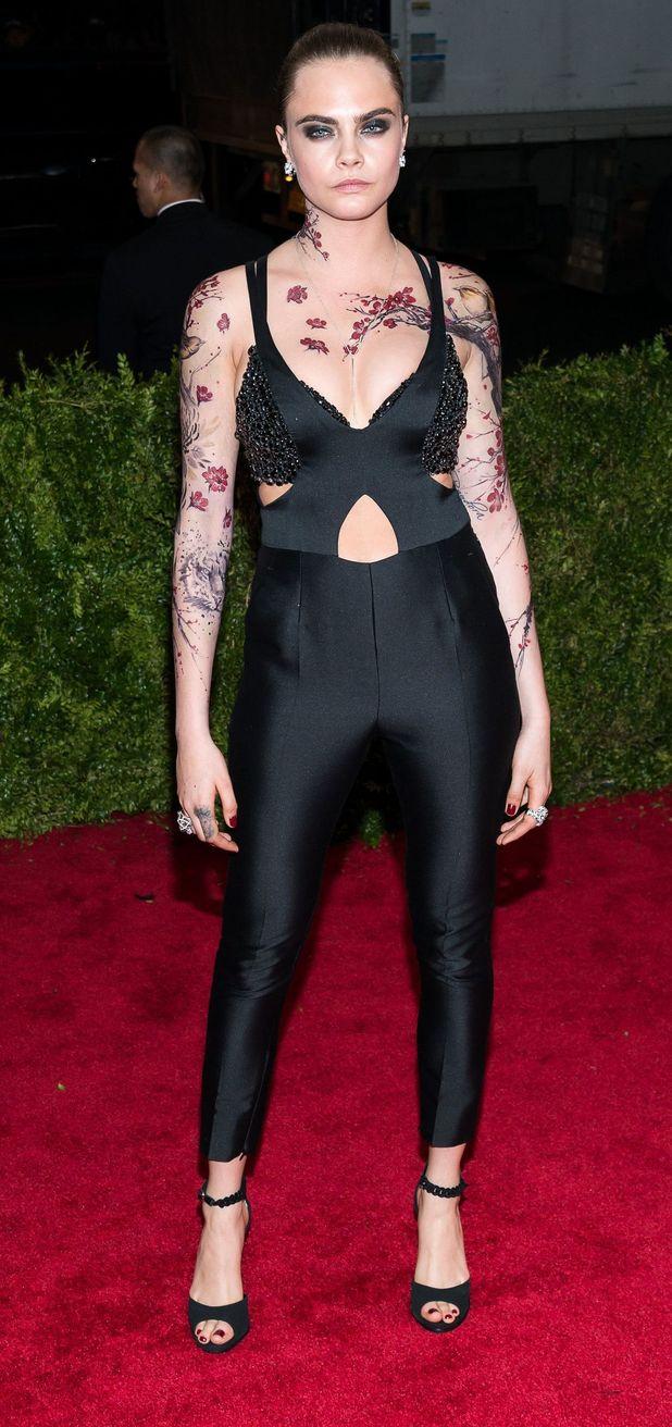 Cara Delevingne at the met gala, body art, tattoos 4th May