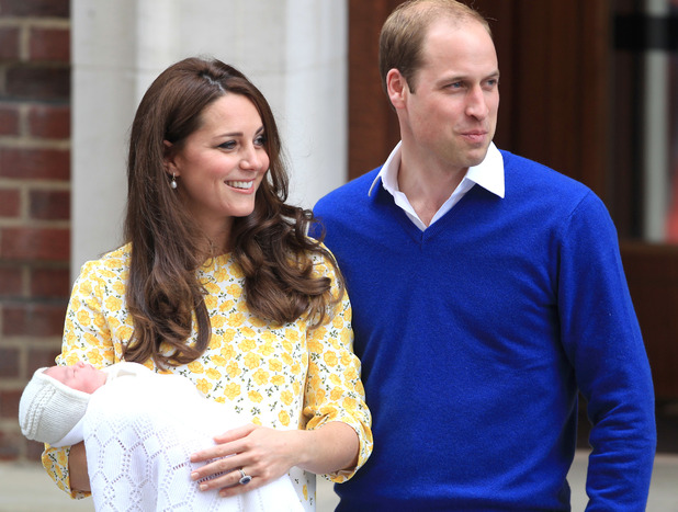Duchess of Cambridge and Prince William, Duke of Cambridge, leave St Mary's hospital with their new baby daughter Charlotte- 2 May 2015