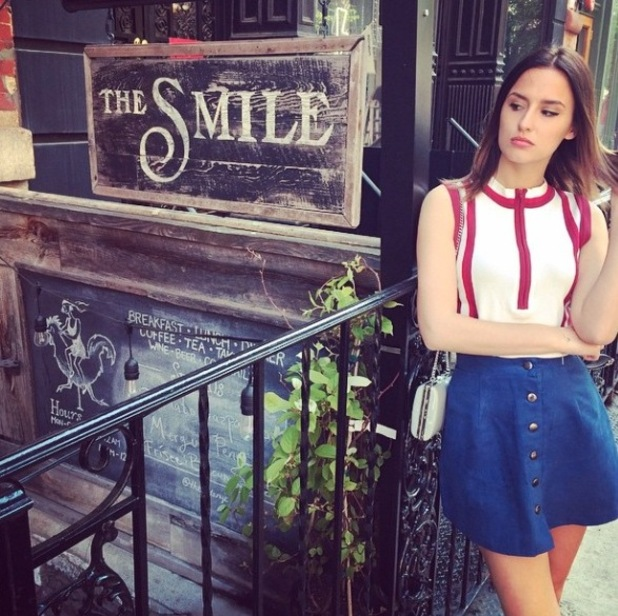 Lucy Watson Instarams picture of her outfit on holiday in New York 8th May 2015