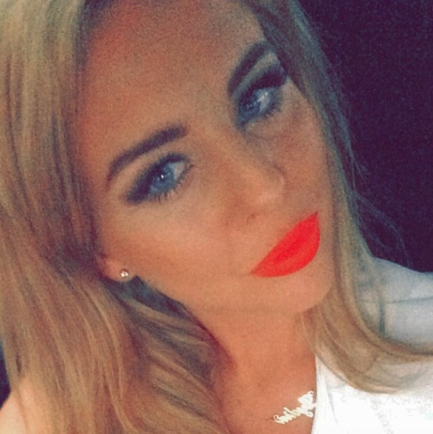 Lydia Bright shows off super-bright orange lipstick, 6 May 2015