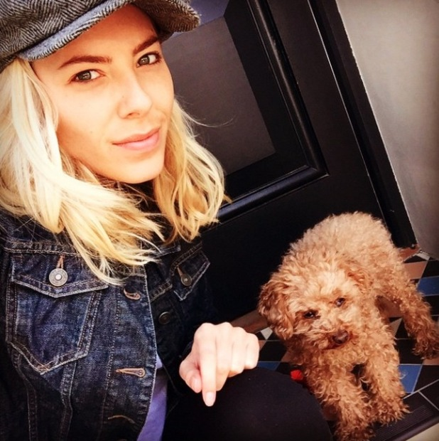 Mollie King in no make-up with her dog, Alfie, 10 May 2015