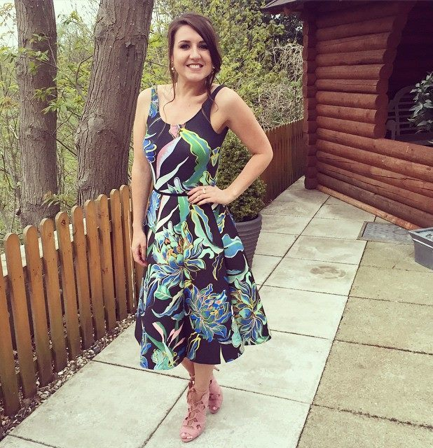 Fashion Assistant Harriet Davey as wedding guest 2nd May 2015