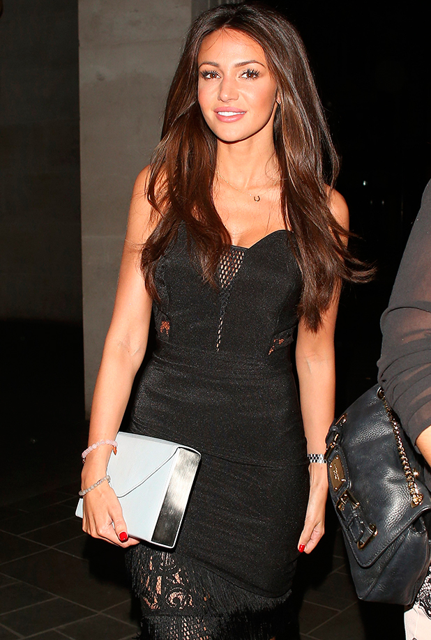 Michelle Keegan leaving the ME hotel, and heading to Sketch club, 7 May 2015