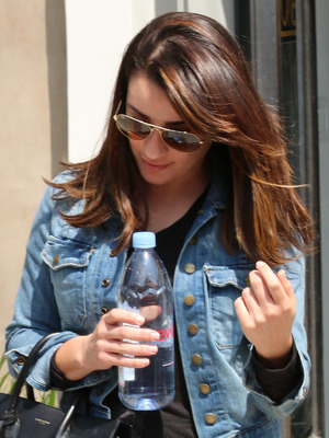 Lea Michele leaving a hair salon in West Hollywood holding a Saint Laurent Paris black bag, 14 April 2015