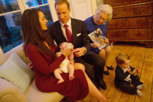 Queen Elizabeth II, Prince William, Catherine Duchess of Cambridge and Prince George and Princess Charlotte lookalikes, Royal lookalikes by Alison Jackson - Mar 2015