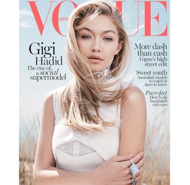 Gigi Hadid on the front cover of Australian Vogue June, 11th May 2015