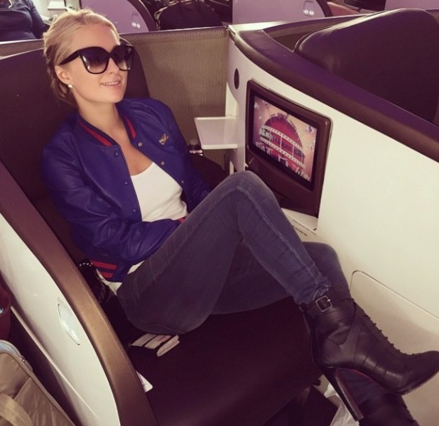 Paris Hilton on aeroplane from LA to the UK to promote her new fragrance High Off My Love Instagram Picture 12th May 2015