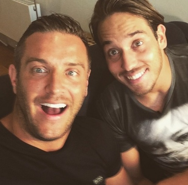 TOWIE's Elliott Wright and James 'Lockie' Lock reunited today for a spot of filming ahead of the new series - 13 May 2015.