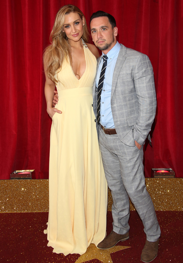 Catherine Tyldesley and Tom Pitford attend the British Soap Awards 2015 held at the Palace Hotel, 16 May 2015