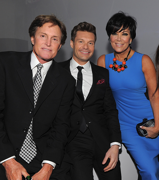 Bruce Jenner, Ryan Seacrest of E! News, Kris Jenner and Kourtney Kardashian of Keeping Up with the Kardashians attend E! 2012 Upfront at NYC Gotham Hall on April 30, 2012 in New York City.