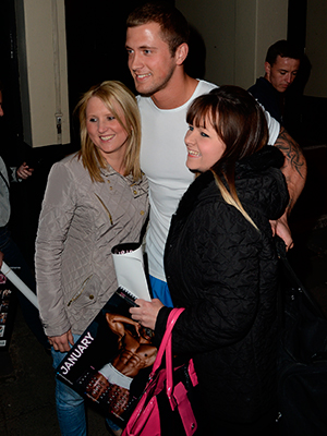 Dan Osborne leaves the Opera House Manchester after appearing in the Dreamboys, Dan signs autographs and poses for selfies with fans. 15 May 2015