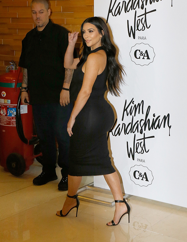 Kim Kardashian West poses for pictures during the launching of her clothing line for Brazilian retailer C&A on May 11, 2015 in Sao Paulo, Brazil.
