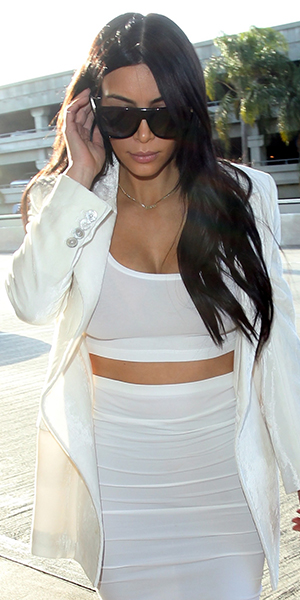 Kim Kardashian is seen at LAX on May 09, 2015 in Los Angeles, California.