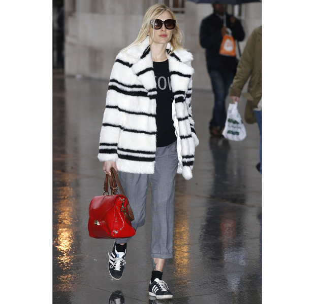 Fearne Cotton heading to Radio1 in striped coat, 20th May 2015