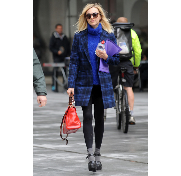 Fearne Cotton heading to Radio1 in blue tartan coat, 20th May 2015