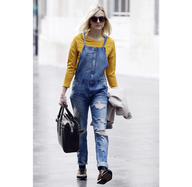 Fearne Cotton heading to Radio1 in dungarees, 20th May 2015