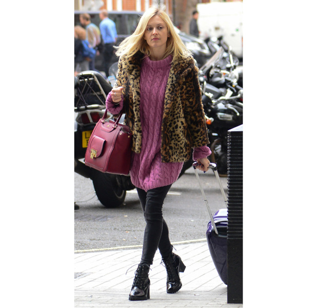 Fearne Cotton heading to Radio1 in pink jumper, 20th May 2015