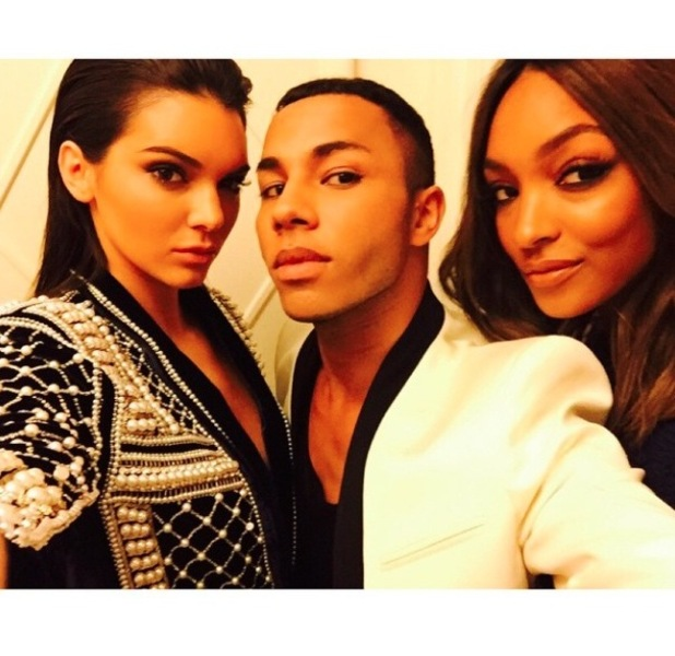 Kendall Jenner and Jourdan Dunn with Oliver Rousteing from Balman Instagram picture 18th May 2015